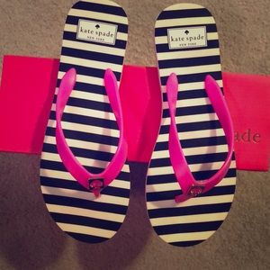 NIB Kate Spade Pink Black White Stripe Flip Flop 8